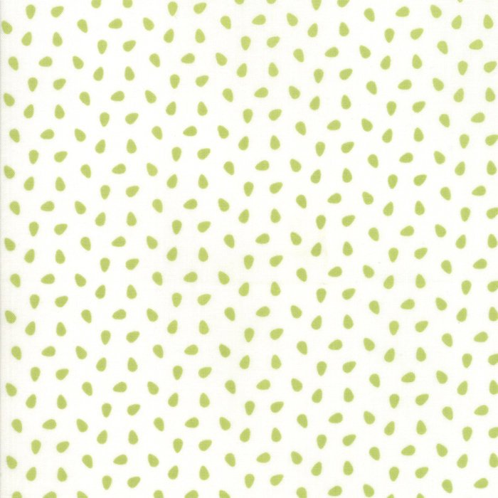 Green on White Seeds Fabric