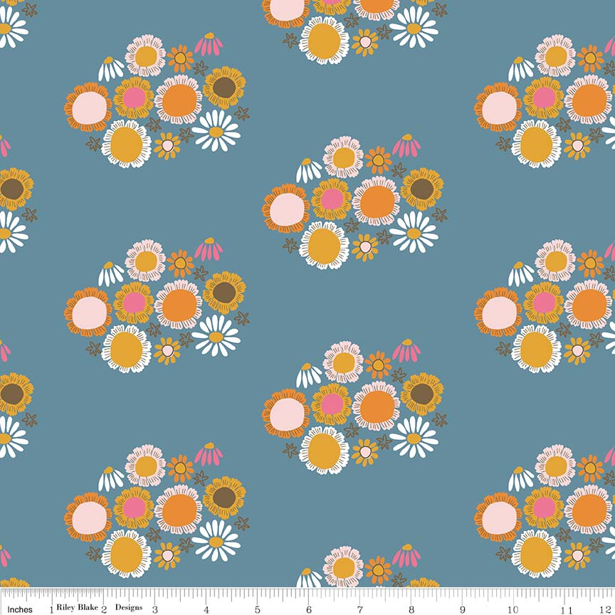 Dark Blue Flower Fabric from Guinevere Collection at Cherry Creek Fabric