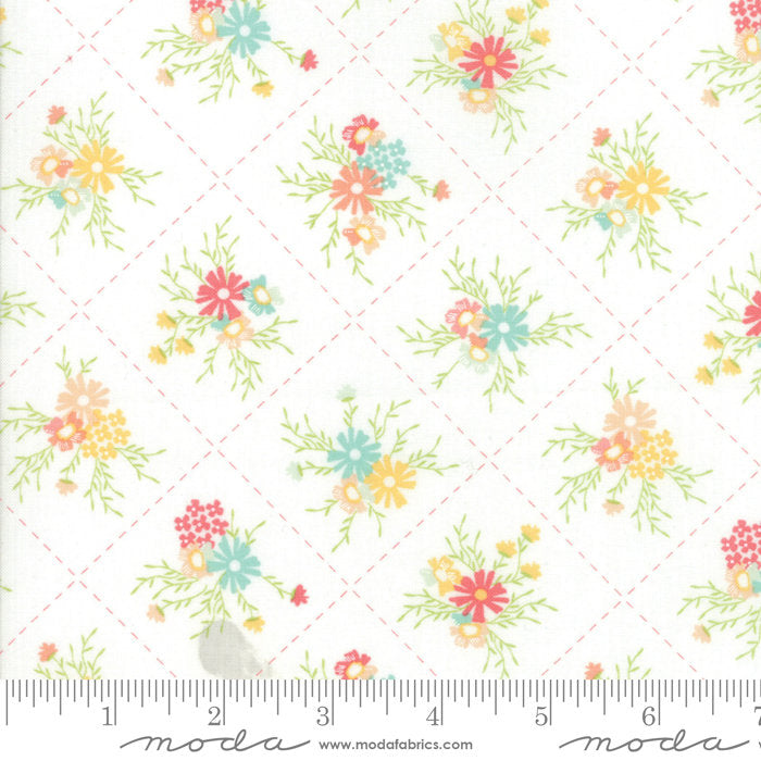 White Floral Dandy Fabric from Sunnyside Up Collection at Cherry Creek Fabric