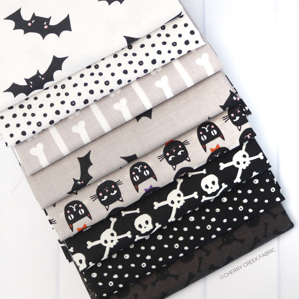 Cats Bats & Jacks White and Black Half Yard Bundle from Cats Bats & Jacks Collection at Cherry Creek Fabric