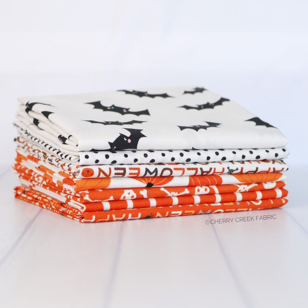Cats Bats & Jacks Orange and White Fat Quarter Bundle from Cats Bats & Jacks Collection at Cherry Creek Fabric
