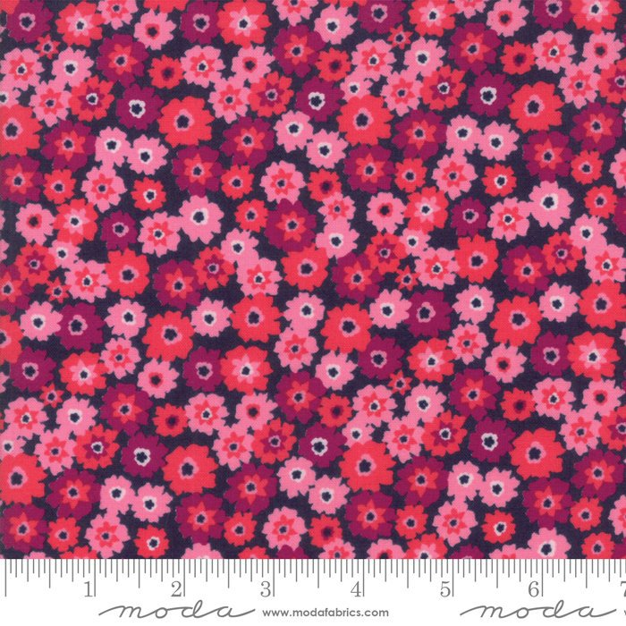 Pink on Navy Flower Tarts Fabric from Rosa Collection at Cherry Creek Fabric