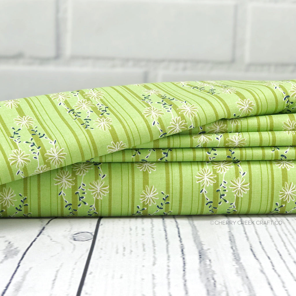 Green Stripe Fabrics from Daisy Days Collection at Cherry Creek Fabric