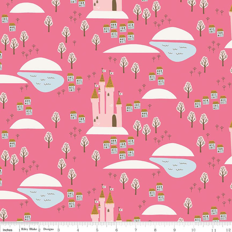 Hot Pink Castle Fabric from Guinevere Collection at Cherry Creek Fabric