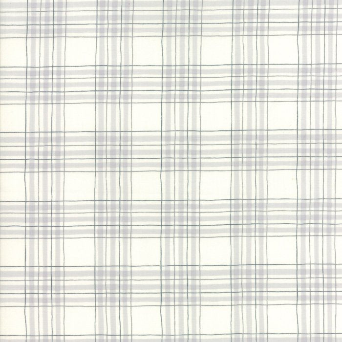 White Winter Plaid Fabric