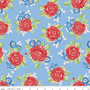 Blue Rose Fabric from Harry & Alice Collection at Cherry Creek Fabric