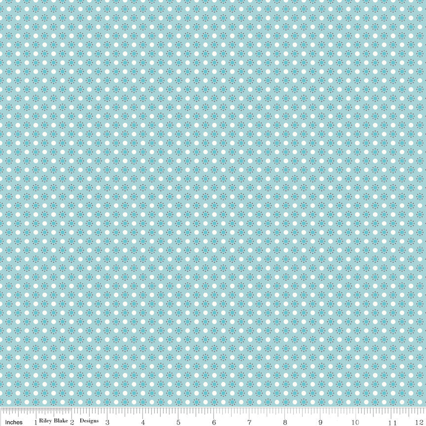 Autumn Love by Lori Holt | Blue Polka Dots Fabric from Autumn Love Collection at Cherry Creek Fabric