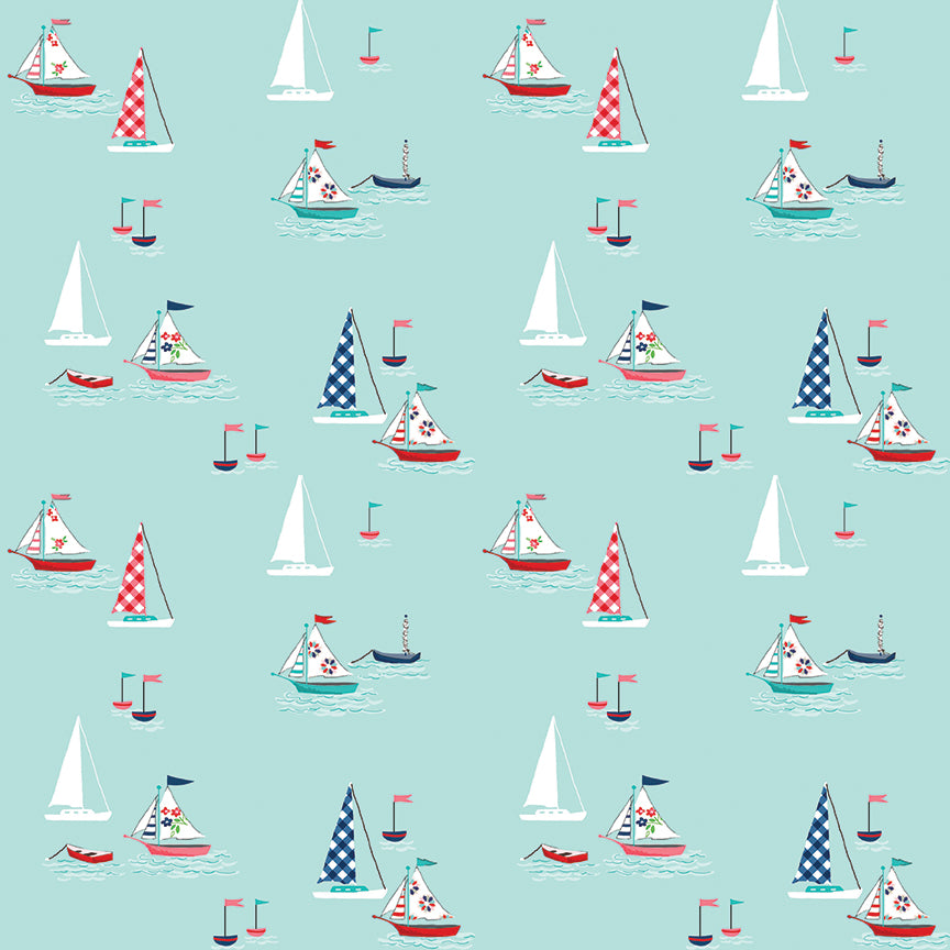 Aqua Seaside Boats Fabric