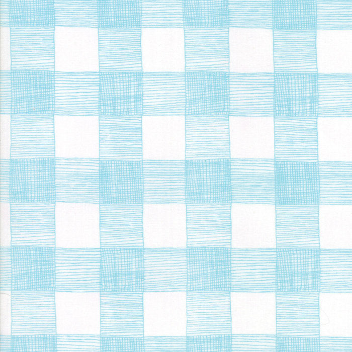 Turquoise on White Rustic Gingham Fabric