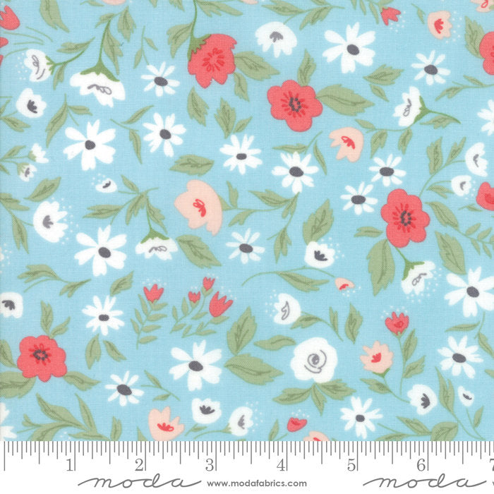 Garden Variety by Lella Boutique | Light Blue Garden Bed Fabric from Garden Variety Collection at Cherry Creek Fabric