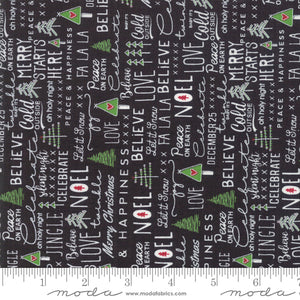 Merry Starts Here by Sweetwater | Black Christmas Text Fabric