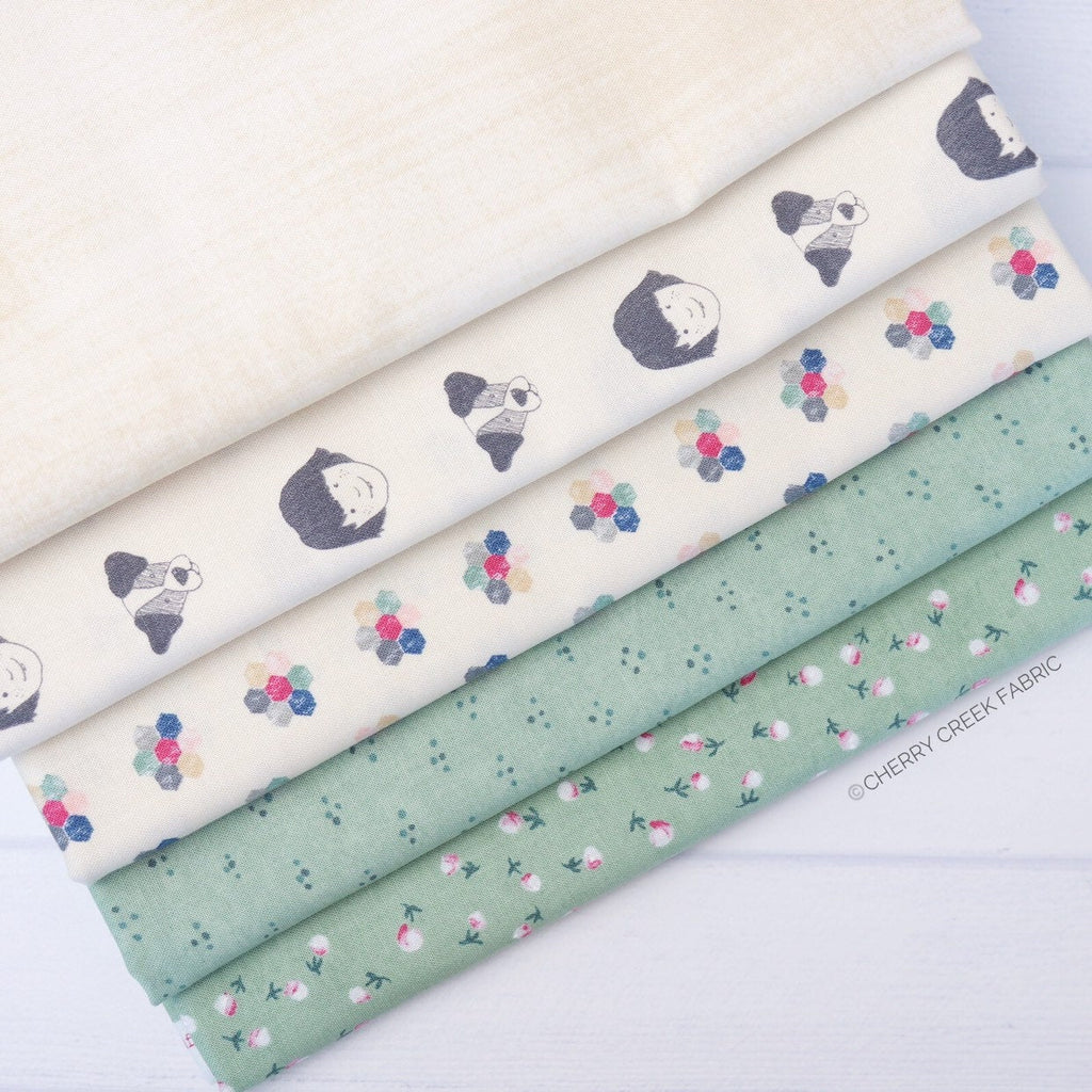 Freya & Friends Green One Yard Bundle - 5 pieces