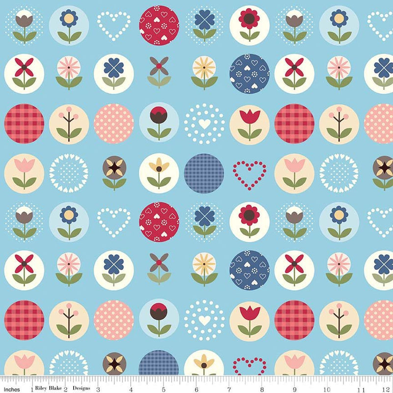 Blue Flower Dot Fabric