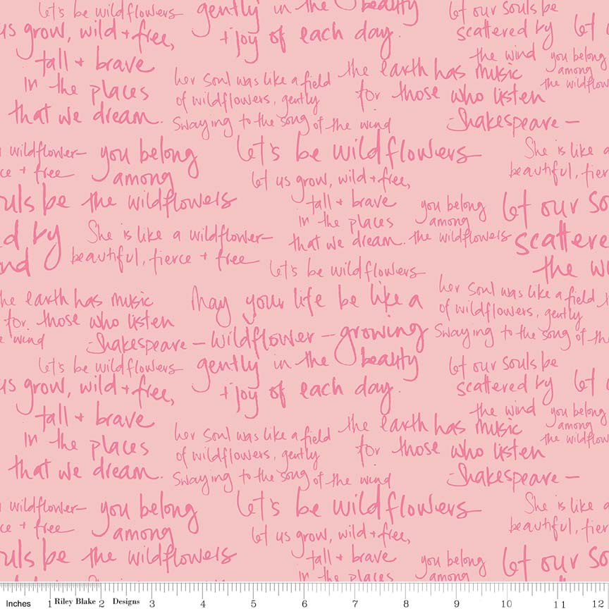Pink Meadow Text Fabric