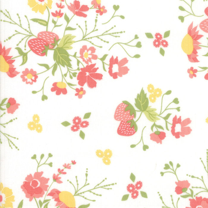 Strawberry Jam Fabric - White Floral Garden Fabric - Corey Yoder - Moda Fabric - Floral Fabric - White Fabric - Fabric by the Yard from Cherry Creek Fabric & Crafts Collection at Cherry Creek Fabric