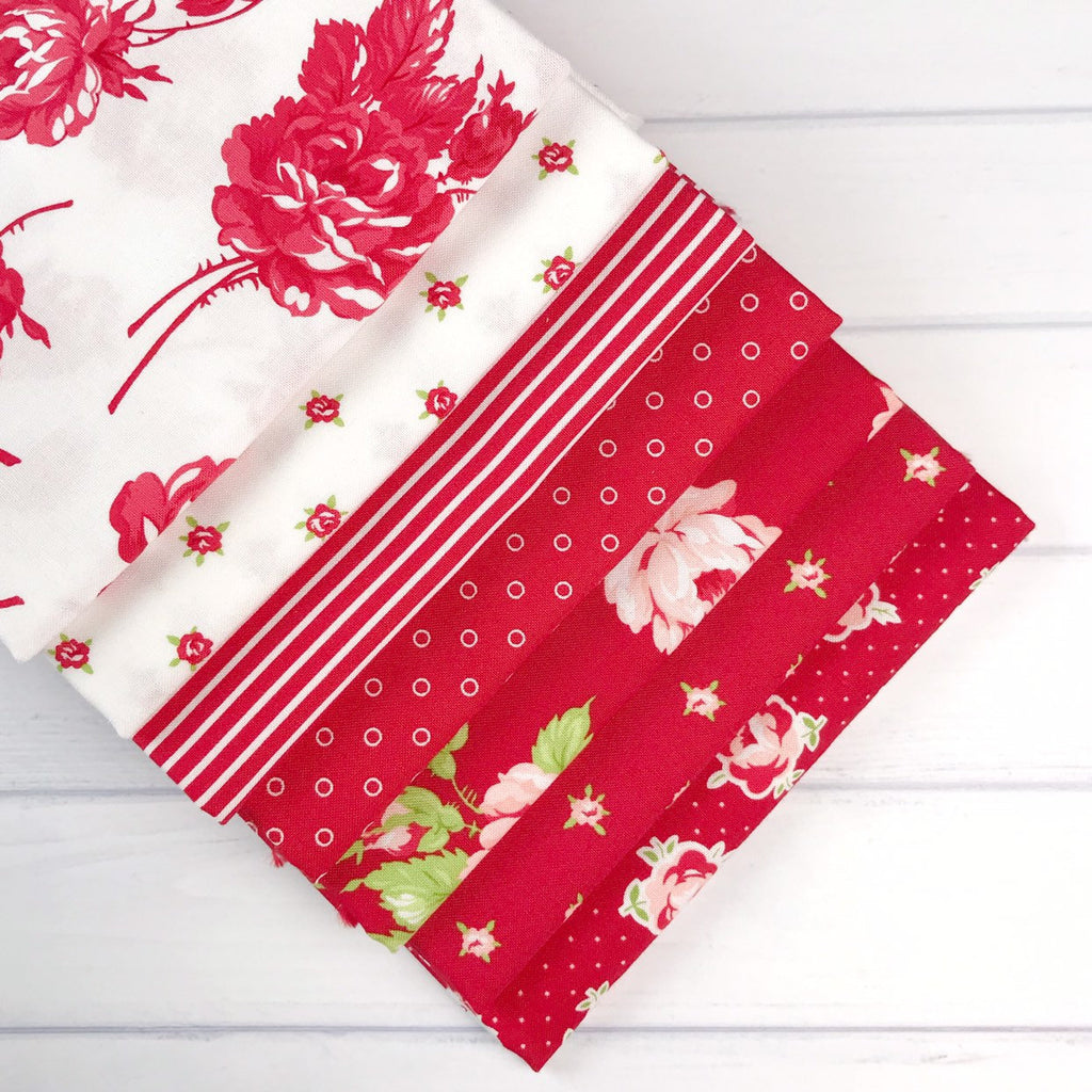 Smitten Red One Yard Bundle from Smitten Collection at Cherry Creek Fabric