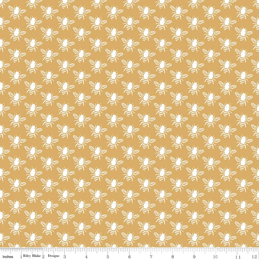 Gold Honey Bee Fabric from In the Meadow Collection at Cherry Creek Fabric