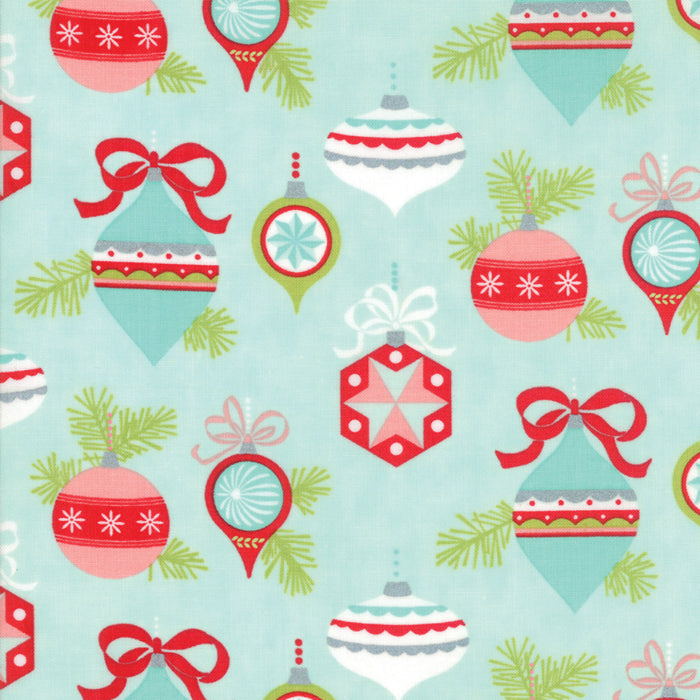 Aqua Vintage Ornaments Flannel Fabric
