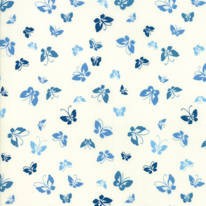 Creamy Blue Butterflies Fabric