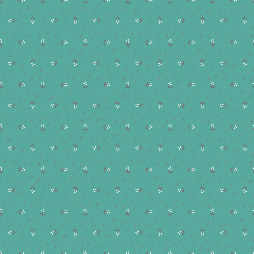 Teal Berries Fabric