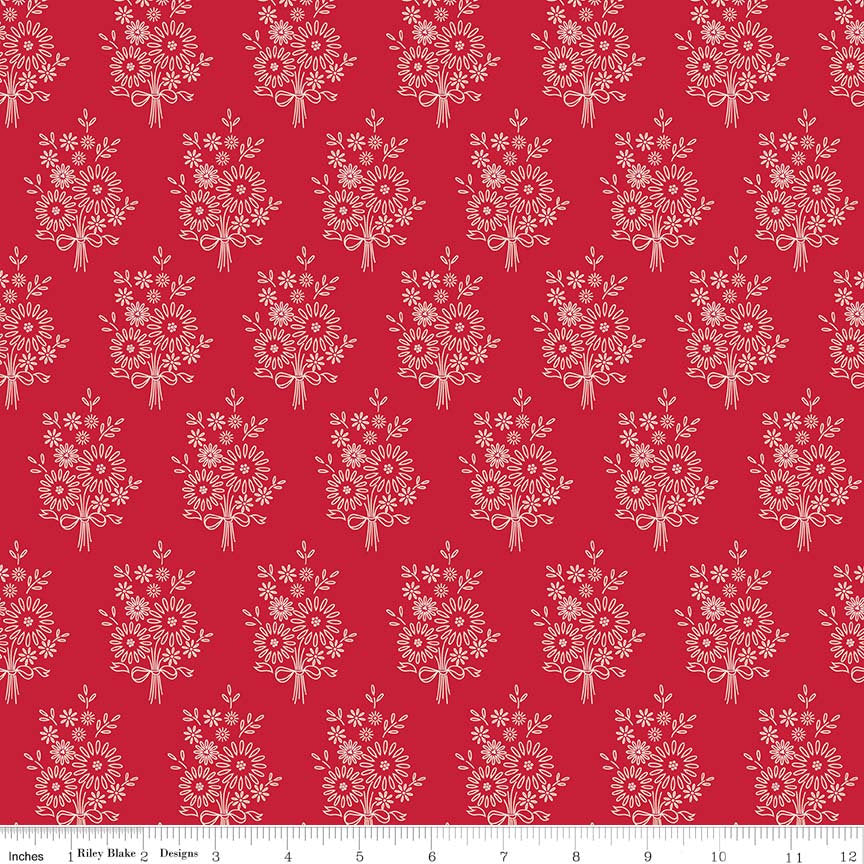 Red Vintage Stitchery Fabric from Harry & Alice Collection at Cherry Creek Fabric
