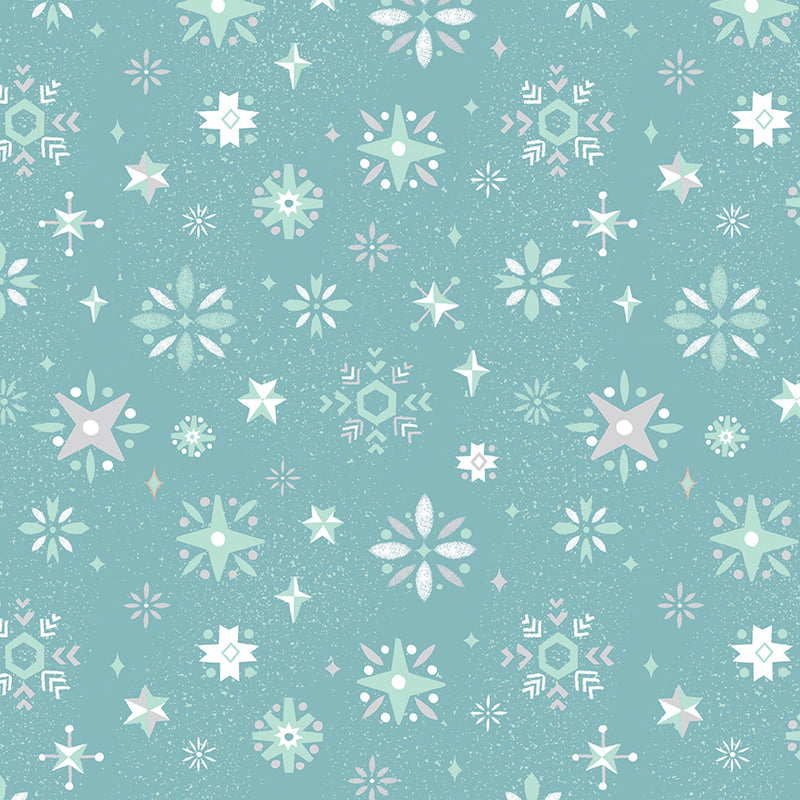 Blue Snowflake Fabric from Way Up North Collection at Cherry Creek Fabric