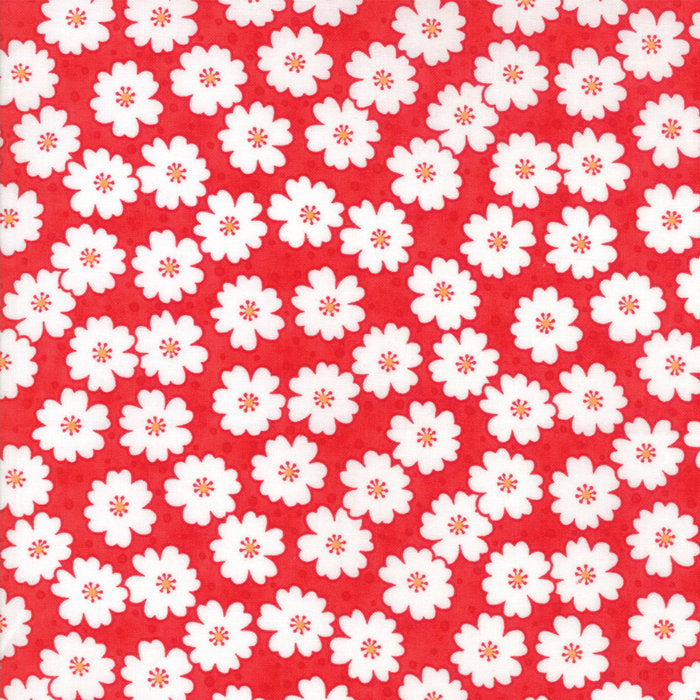 Red Cherry Blooms Fabric