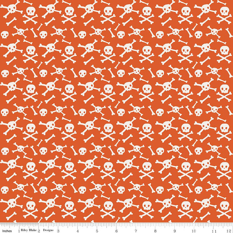Orange Skulls Fabric from Cats Bats & Jacks Collection at Cherry Creek Fabric