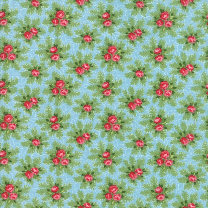 Blue Ice Christmas Bouquets Fabric from Good Tidings Collection at Cherry Creek Fabric