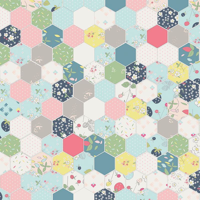 Aqua Hexagon Fabric