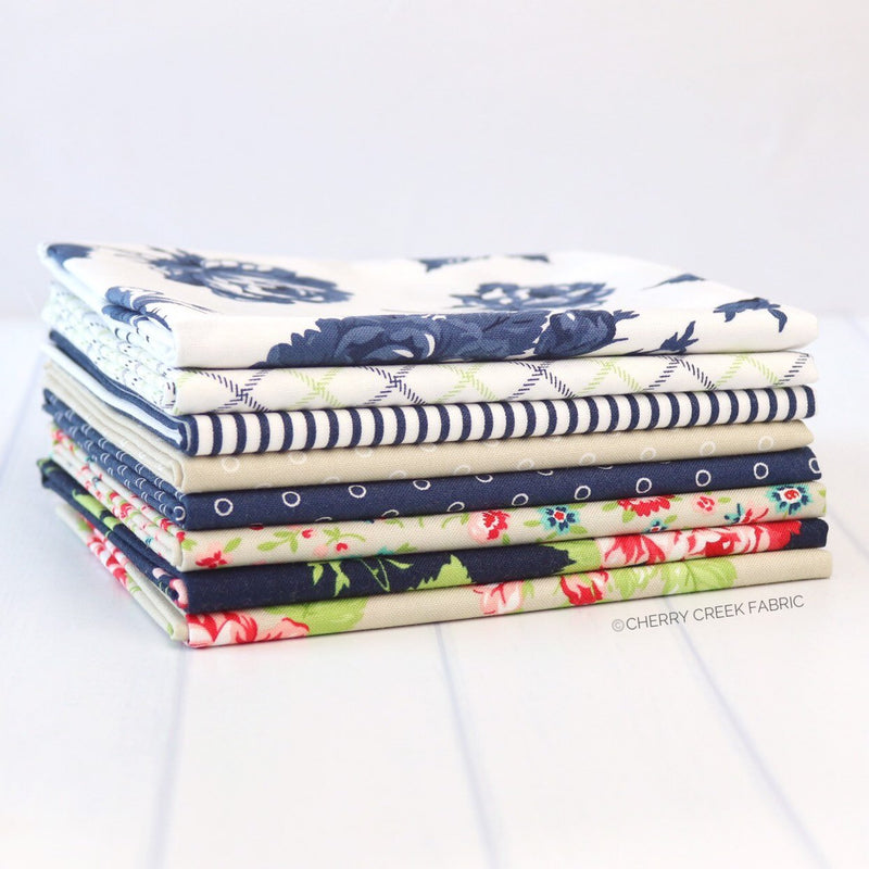 Smitten Navy & Tan Fat Quarter Bundle from Smitten Collection at Cherry Creek Fabric