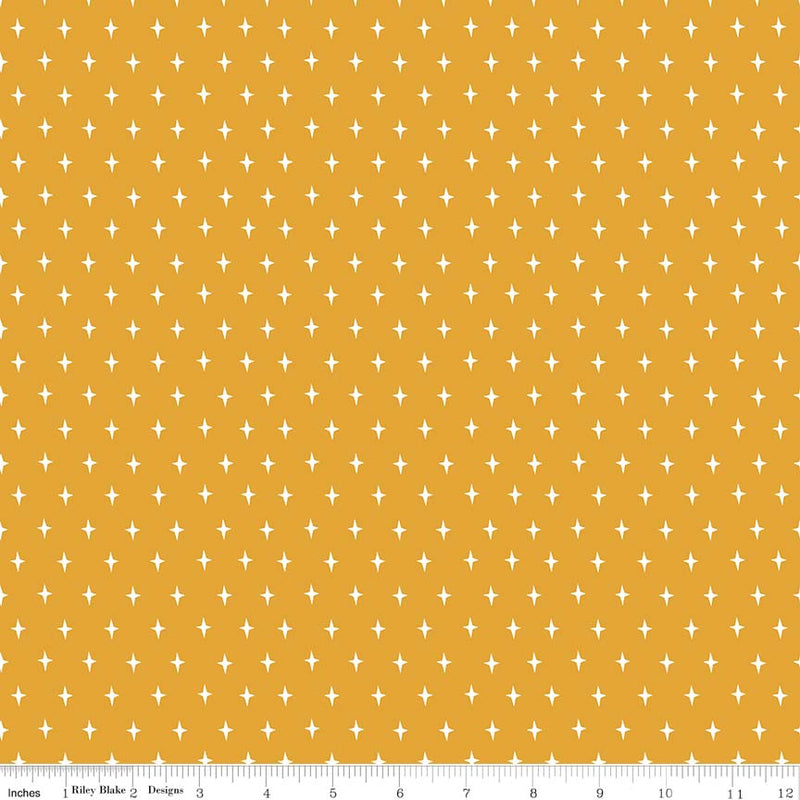 Mustard Stars Fabric from Lancelot Collection at Cherry Creek Fabric