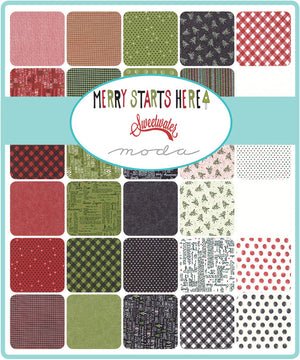 Merry Starts Here by Sweetwater | Black Christmas Tree Farm Fabric