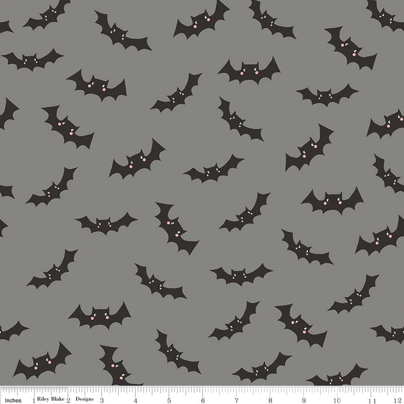 Gray Glow in the Dark Bat Fabric from Cats Bats & Jacks Collection at Cherry Creek Fabric