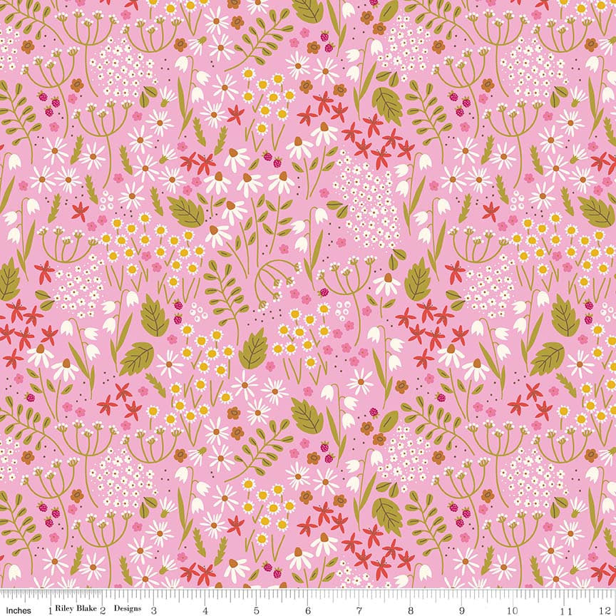 Pink Wildflowers Fabric from Wild Bouquet Collection at Cherry Creek Fabric