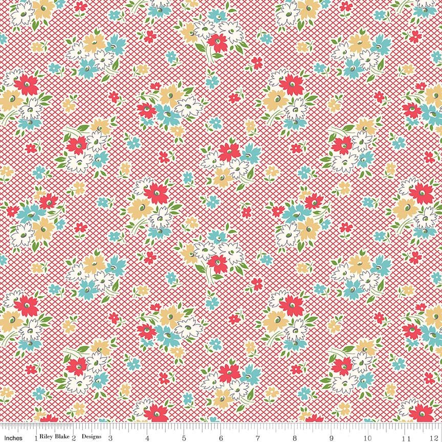 Red Main Floral Fabric