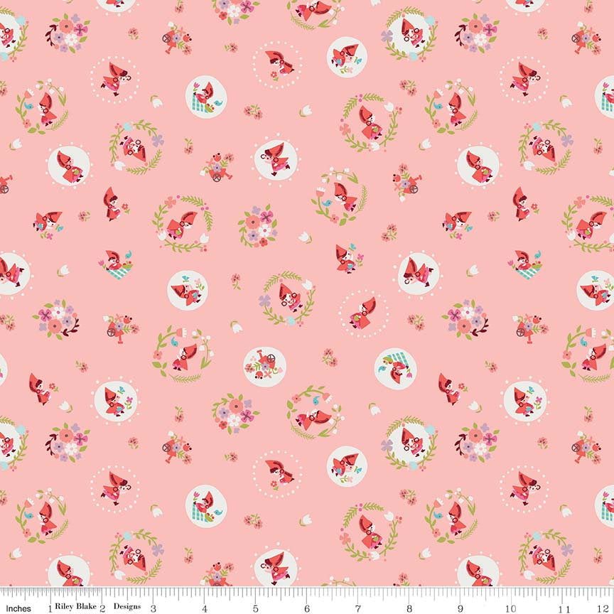 Pink Little Red Toss Fabric from Little Red in the Woods Collection at Cherry Creek Fabric