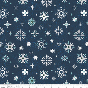 Navy Snowflake Fabric</br>END OF BOLT </br>2 yds + 12""