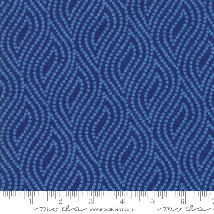 Lazy Days by Gina Martin | Dark Blue Dotted Floral Fabric from Lazy Days Collection at Cherry Creek Fabric