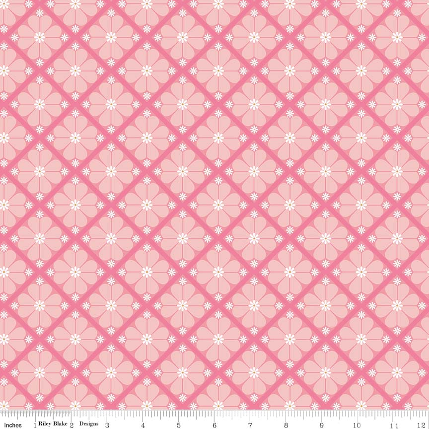 Pink Lattice Fabric from In the Meadow Collection at Cherry Creek Fabric