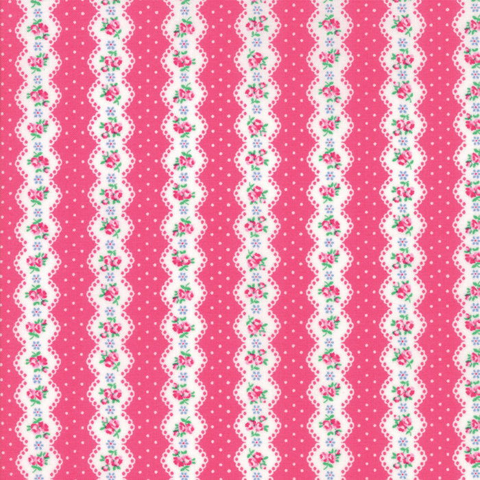 Dark Pink Floral Stripe Fabric