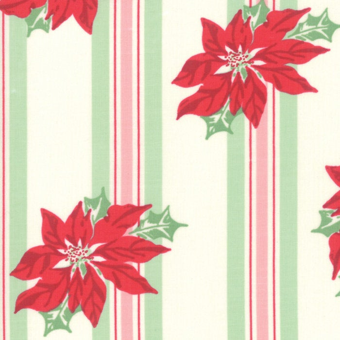 Sweet Christmas by Urban Chiks | Natural Poinsettia Stripe Fabric