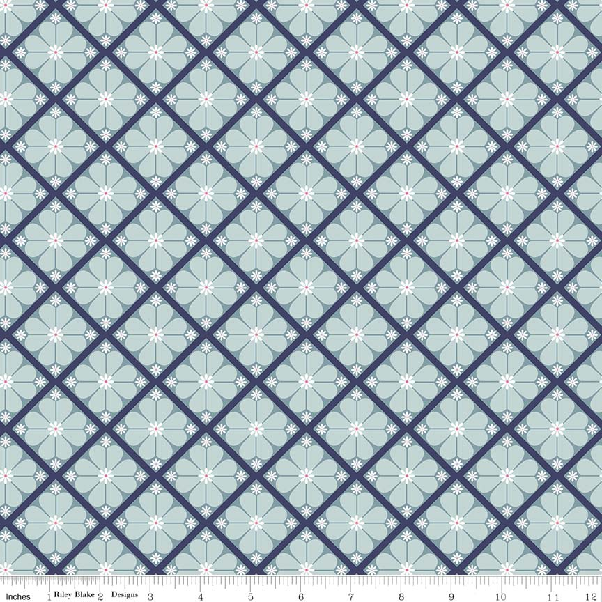 Blue Lattice Fabric from In the Meadow Collection at Cherry Creek Fabric