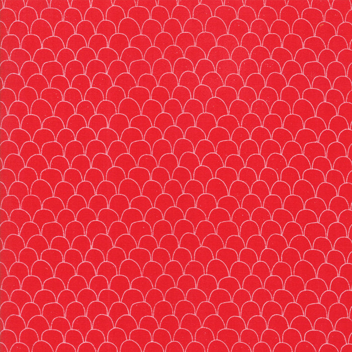 Red Scalloped Feathers Fabric