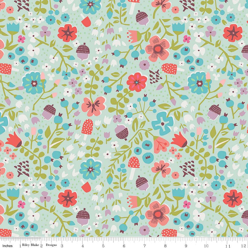 Mint Little Red Floral Fabric