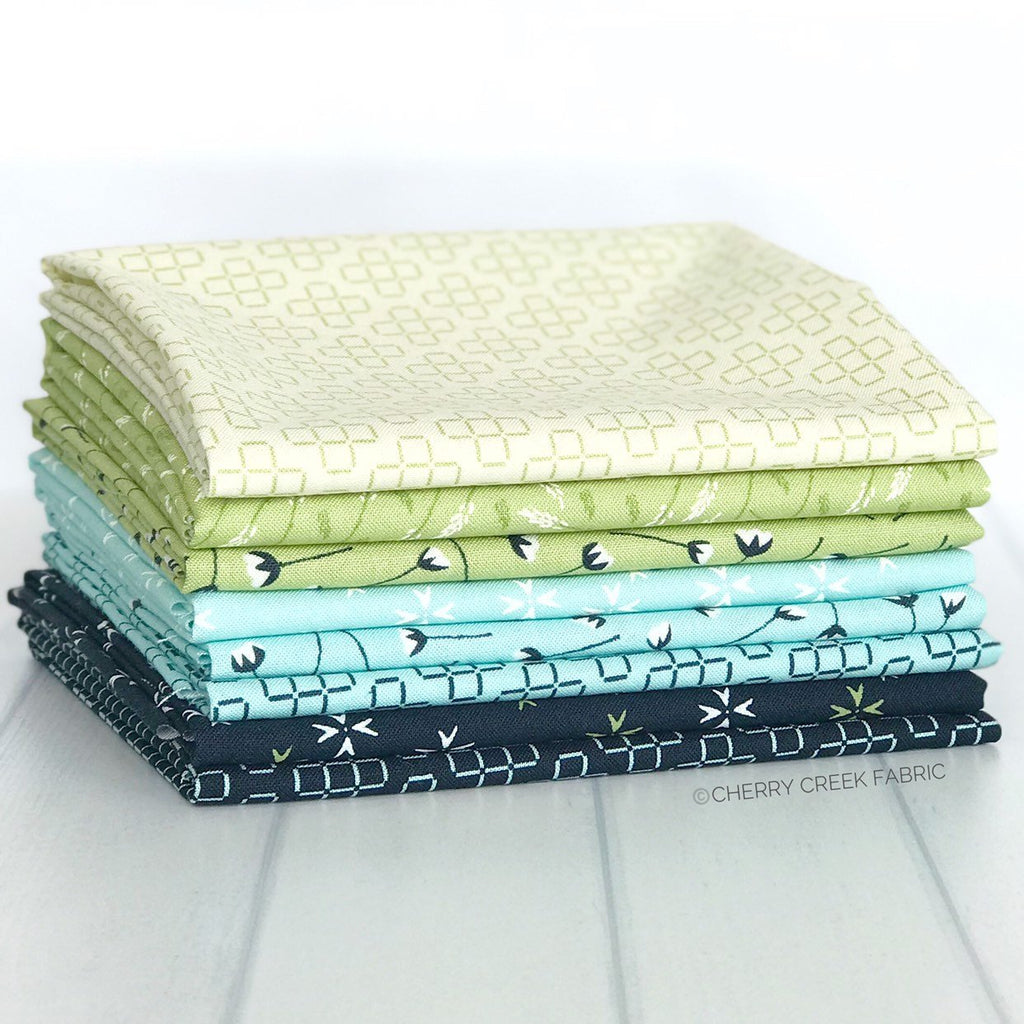 The Front Porch Navy & Blue Fat Quarter Bundle from The Front Porch Collection at Cherry Creek Fabric
