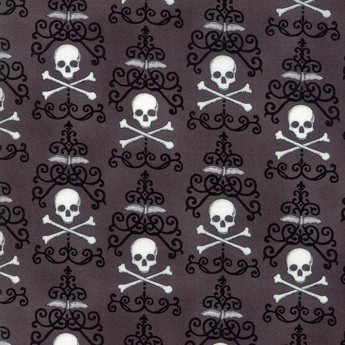 Dark Grey Danger Damask Fabric from Bewitching Collection at Cherry Creek Fabric