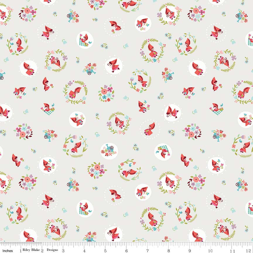Cream Little Red Toss Fabric
