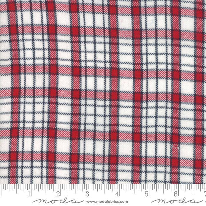 Denim Red Plaid Woven Fabric from Oxford Collection at Cherry Creek Fabric