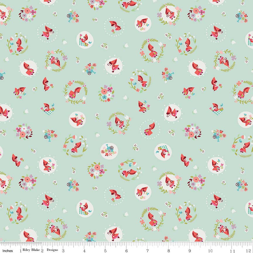 Mint Little Red Toss Fabric